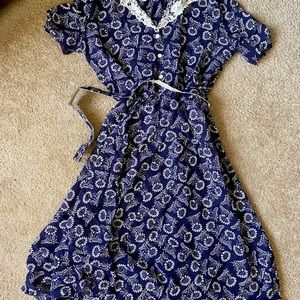Vintage lace and blue and white dresse
